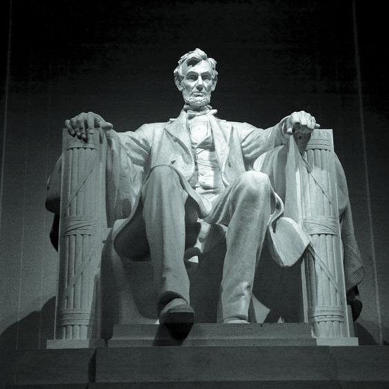"""The """"great emancipator,"""" President Abraham Lincoln sculpted by Daniel Chester French sits 19 feet high and weighs 175 tons."""