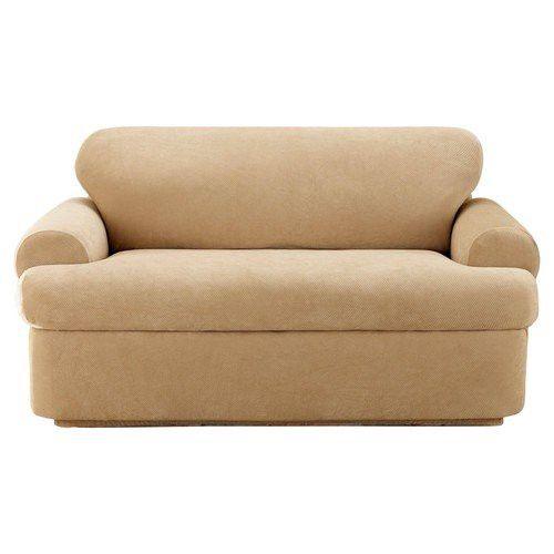Stretch Pique 3 Piece T Cushion Loveseat Slipcover In 2021 Loveseat Slipcovers Love Seat Sofa Covers 3 piece t cushion sofa slipcover