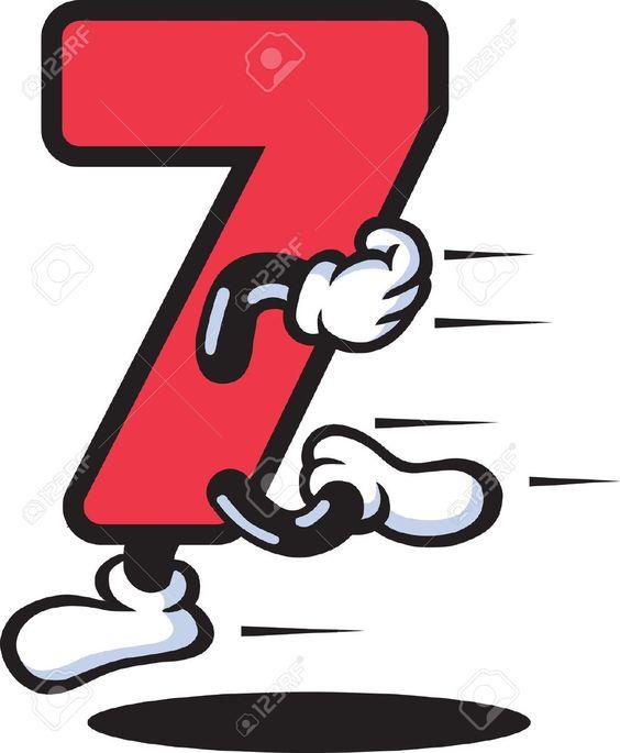 N mero siete 7 color rojo personaje de dibujos animados for Los colores para pintar