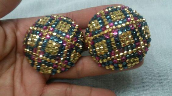 Statement vintage Swarovski crystal Richard Kerr multi colors clip earrings