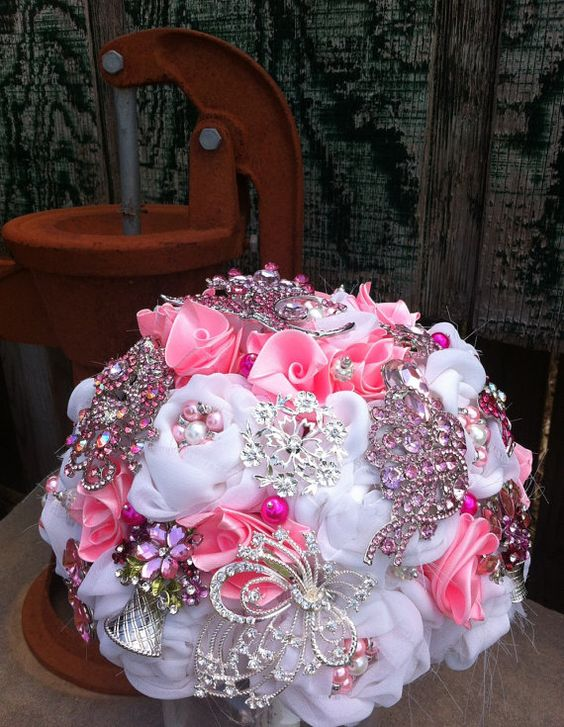 Pink Brooch Bouquet- would need a brighter pink and some black, but super cute