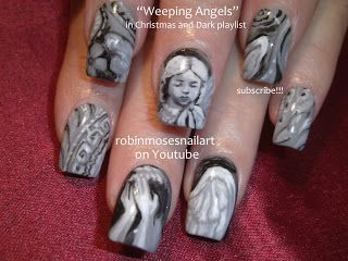 "Nail-art by Robin Moses: ""nail art"" ""dark nail art"" ""scary nail art"" ""scary movie nails"" ""scariest nail art"" ""evil nails"" ""evil nail art"" ""t..."