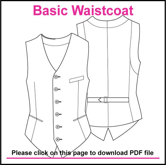basic single breasted waistcoat pattern created in