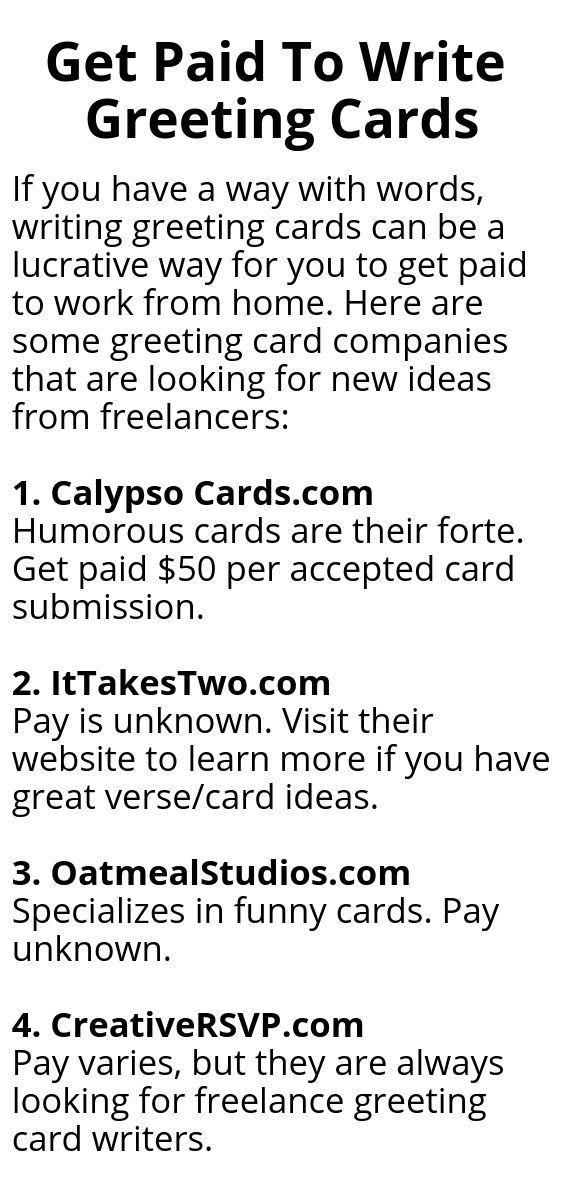 Get Paid To Write Greeting Cards Writing Jobs Freelance Writing Jobs Card Writer