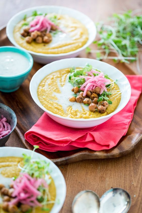 #Vegan #GlutenFree Smoky Yellow Split Pea Soup with Chickpea Bacon & Pickled Red Onions  |  Keepin' It Kind