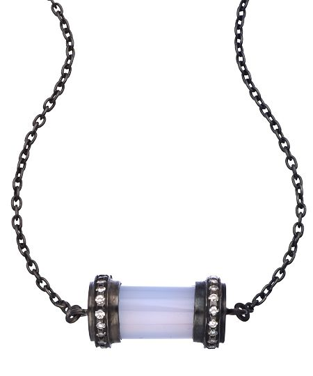 Didi Jewellery Blackened Silver Blue Chalcedony and CZ Crown Bar pendant Necklace