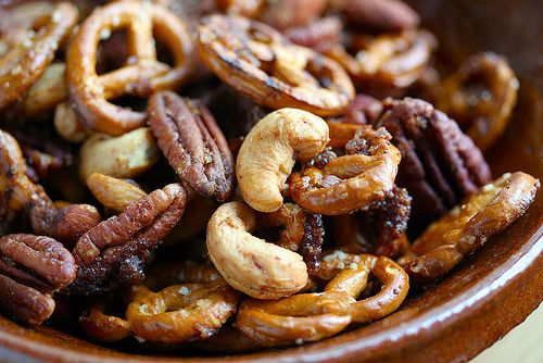 Holiday Snack Mix | Dark brown, Spicy pretzels and Spicy