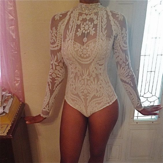 plunge long sleeve sheer white lace unitard | ... Embroidery lace sheer long sleeve chic sexy top bodysuit crystal