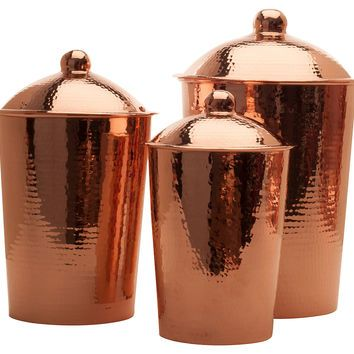 kitchen copper canisters
