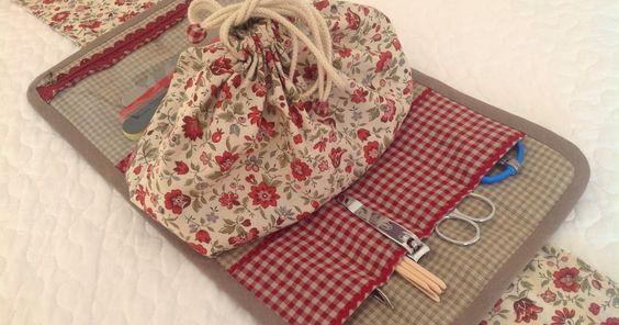 Había visto en Pinterest unos modelos de costurero que en su interior tienen una bolsa de tela que se cierra tirando de las cuerdas, me gu...