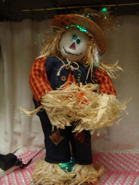 Autumn accents 24 halloween fiber optic scarecrow w orig for Animated scarecrow decoration