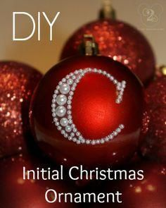 See your initial spelled out in pearls for this DIY Christmas personalized ornament