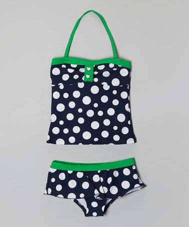 Another great find on #zulily! Navy & Green Polka Dot Tankini - Girls #zulilyfinds