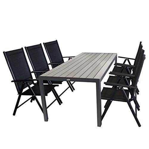 Ensemble De Jardin 7 Pieces Table De Jardin En Aluminium Et Polywood Plateau De Table Gris 205x90x74 Cm Dossier De Chaise Table De Jardin Ensemble De Jardin