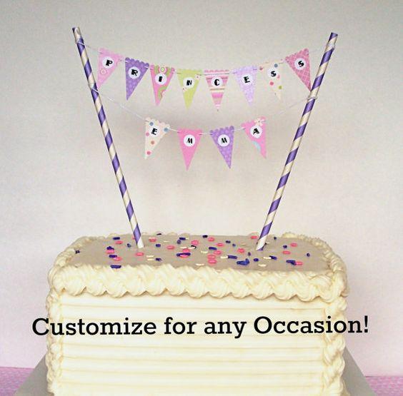 Cake Banner / Cake Bunting DIY Kit. Happy Birthday, Baby