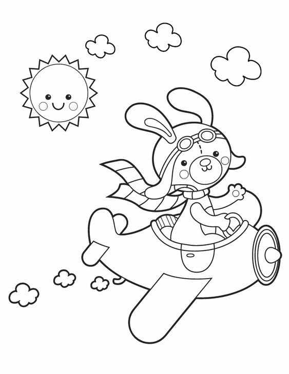Springtime coloring sheets: Bunny in airplane - Kleuring ...