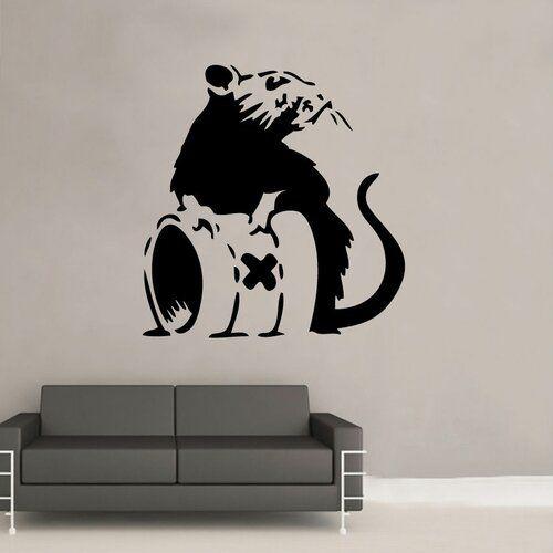 LARGE Banksy Style Poison Rat Wall Sticker graffiti bedroom vinyl decor