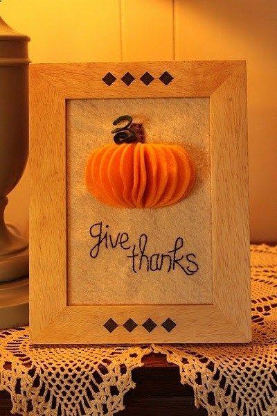 3D Felt Pumpkin Art