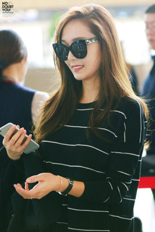 Jessica Jung in black with thin white stripe.