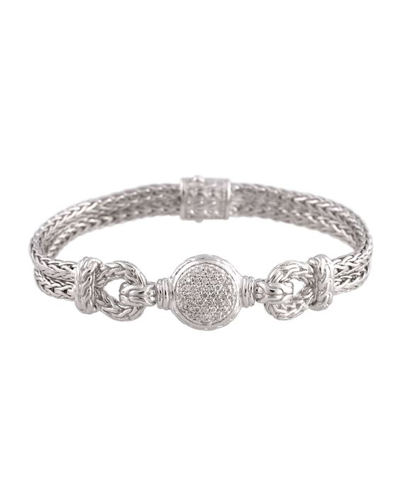 John Hardy Silver Chain Loop Bracelet with Diamond Pave, Size M, Women's