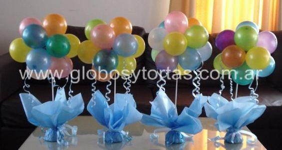 de mesas para baby shower con globos centros de mesa con globos para