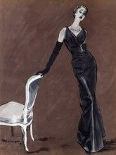 Jacques Fath, 1953, Pierre Mourgue fashioniIllustration
