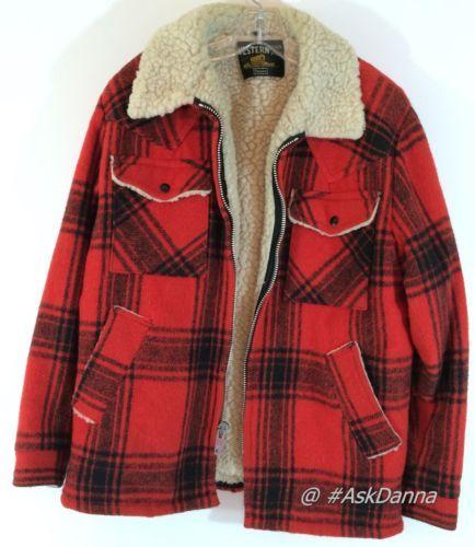 Vintage Western Outdoor Wear Red Plaid Jacket Coat Wool