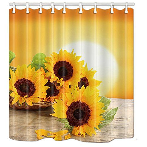 Nymb Sunflower With Green Leaves In The Sunset Shower Curtain With Images Sunflower Bathroom Sunflower Curtains Sunflower Room
