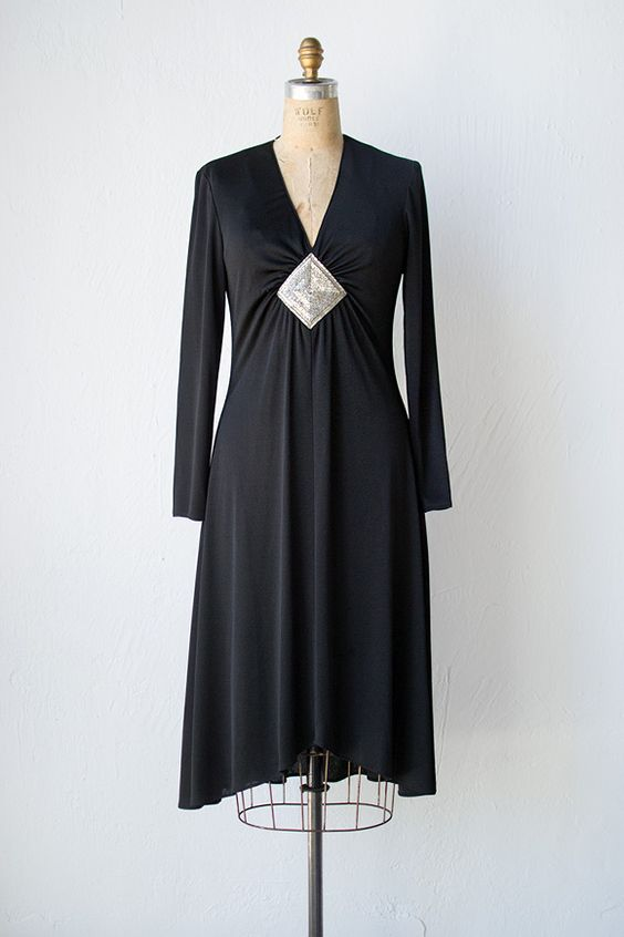vintage 1970s black disco dress with beaded detail