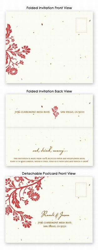 "This innovative eco-chic wedding invitation combines the invitation, reply card, and envelope into one beautiful 5.5"" x 15"" sheet. It is scored to fold up to an A2 size (4.25"" x 5.5"") with a perforation for the reply card to be torn off and mailed back as a postcard. These invitations come with a roll of archival quality double-sided tape to neatly seal them shut once folded- no envelopes required!"