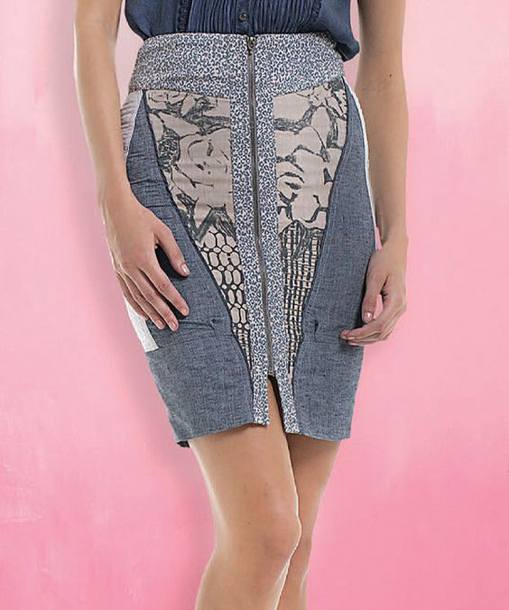Look at this Angels Never Die Blue & White Abstract Front-Zip Skirt on #zulily today!