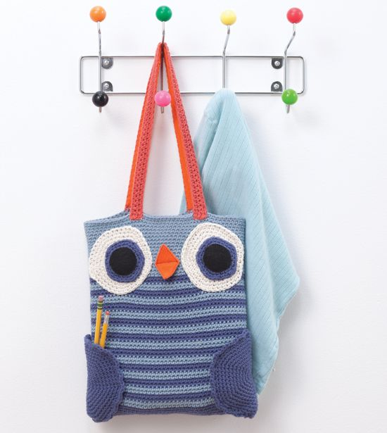 Cute owlie book bag! From Amigurumi on the Go: Book Bags, Bags Purses, Crochet Purses, Crochet Patterns, Bag Patterns, Crochet Bags Baskets, Bookish Crafts
