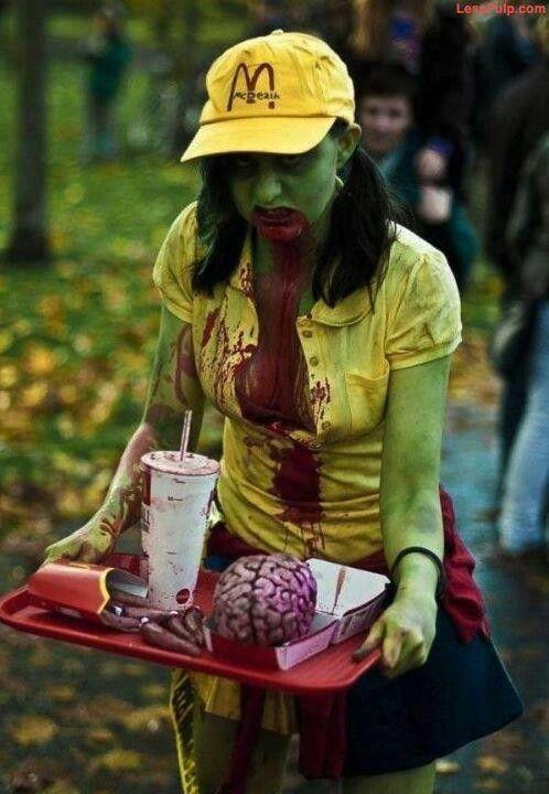 I'm lovin it: Zombie Costume, Halloween Costumes, Costume Ideas, Awesome Costume, Party Idea, Mcdonalds Zombie, Mcdonald S, Fast Food, Zombie Walk