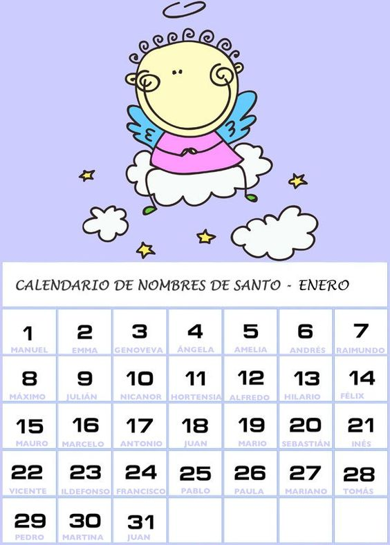 Calendario De Los Nombres De Santos De Enero Word Search Puzzle Names Words