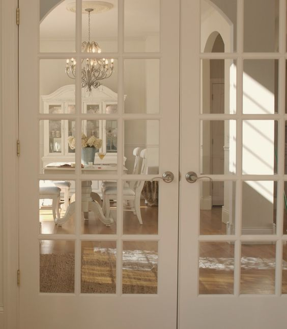 French doors in shabby chic studio/french country decor in dining room/white oak hardwood flooring/Hello Lovely Studio