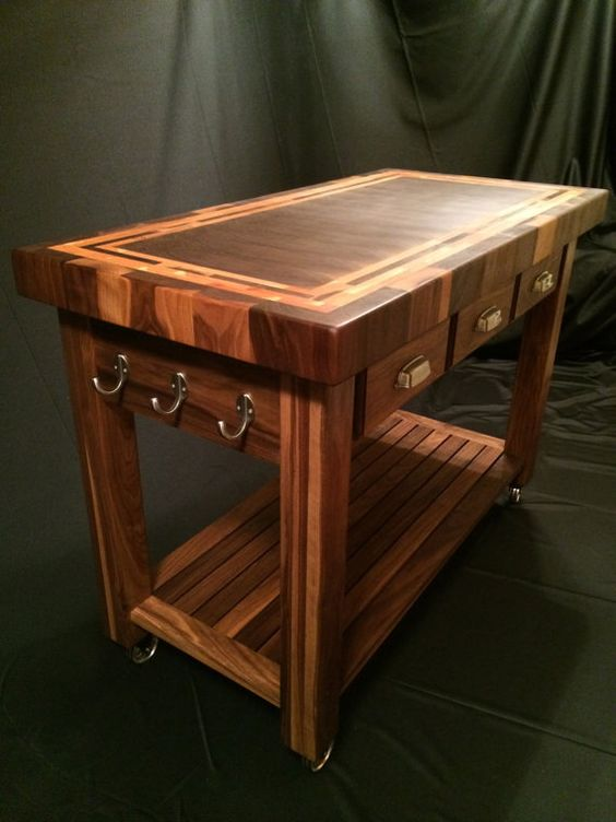 Custom Beautiful Black Walnut End Grain Butcher Block Kitchen Cart With American Cherry Accent