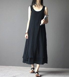 Loose Fitting Maxi Dress - Summer Dress in Black- Beige- Linen ...