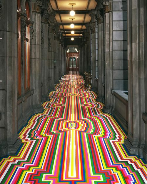Floor Installations made with tape byJim Lambie