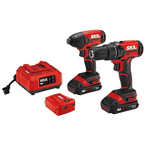 Skil 3 Tool Combo Kit 20v Drill Driver Impact Driver And Pwrassist Usb Charging Adaptor Includes Two 2 0ah Lithium Batteries A Combo Kit Impact Driver Drill