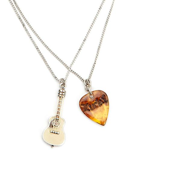 - music necklace with guitar and guitar pick. #music #fashion #style #necklace #jewelry #musicfashion http://www.pinterest.com/TheHitman14/music-jewelryaccessories-%2B/