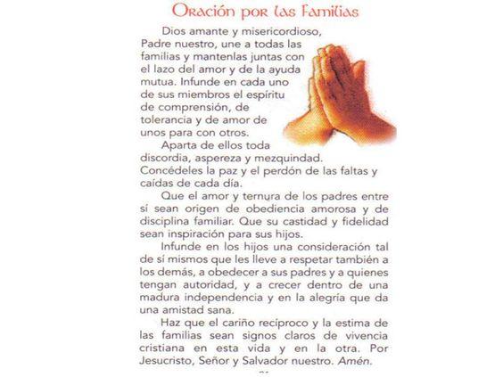 Oracion Por La Familia Oraciones Cristianas Pinterest
