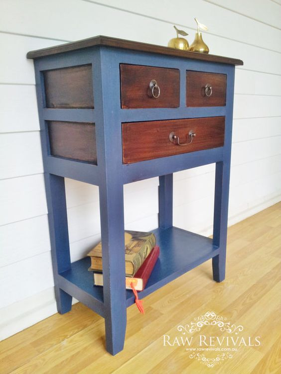 Rustic Navy Blue And Natural Wood Hall By Rawrevivals On