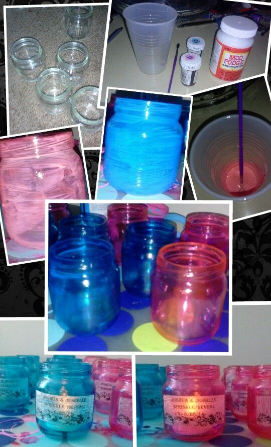 Baby Jar Votive  THINGS YOU NEED:  Empty Jar, Paint brush, Mod Podge,Food coloring, Clear labels WHAT TO DO: Make sure the sticky stuff is off glass (i used tape to peel it off).  Mix a small amount of food coloring with modpodge in cup. Apply to glass let dry over night.  Print desired labels to personalize it add very small amount of modpodge (NO COLORING) over label... keep an eye on it as the labels may appear to peel off if too much is added!  Have fun BE CREATIVE ©