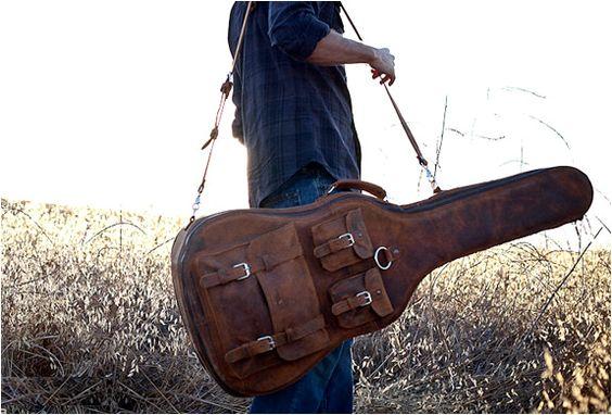 vintage leather guitar case guitar case cases and hand sewn. Black Bedroom Furniture Sets. Home Design Ideas