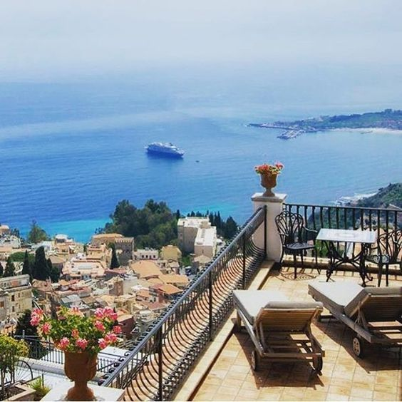Villa Ducale, View from Room No: 12., Taormina, Sicily, Italy: