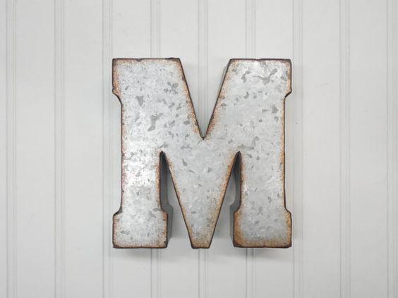 M ga vente m tal lettre m 7 pouces lettre galvanis lettre de mur petites let - Lettre decorative metal ...