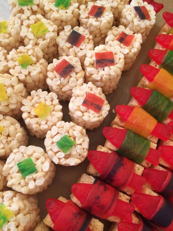 Sushi! Rice rolls, Rice Krispy Treats, Swedish Fish and Fruit by the Foot
