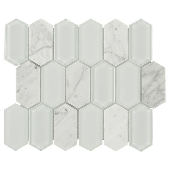 Sample Carrara White Marble Mint Glass Random Linear: Glass Stone Mosaic Tile Picket Carrara