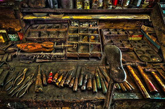 These are the tools of the cobbler who owned this shoe repair shop. Nothing has been moved since his death in 1976.