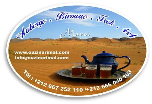 OUZINA RIMAL - MOROCCO Desert Hotel - Restaurant - Bivouac +212 667 252 110 +212 666 040 163 info@ouzinarimal.com GPS N 30°44'47.22'' W 04°12'45.71'' www.ouzinarimal.com: